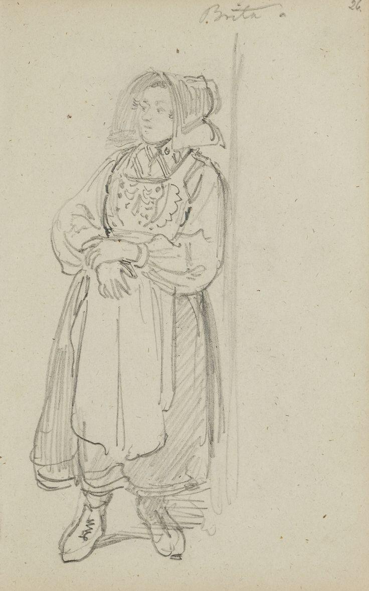 Blyertsskiss. Brita. Kvinna i helfigur, Floda. Ur Skissbok av J.V. Wallander Nordiska museet föremål (arkivet) invnr. NM.0053744