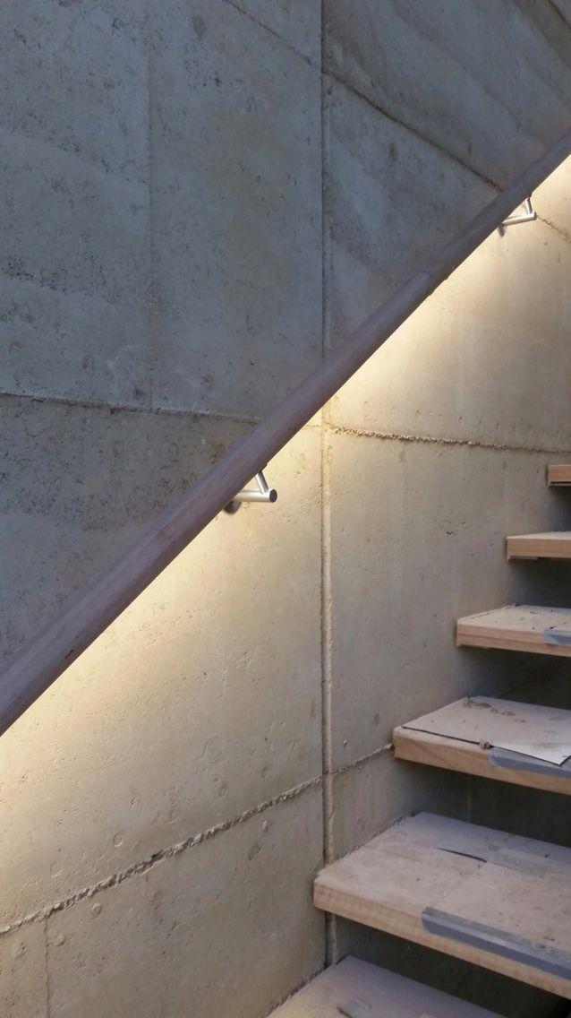 Lighting Basement Washroom Stairs: Timber LED Handrail Illuminated With The Forrest Range By