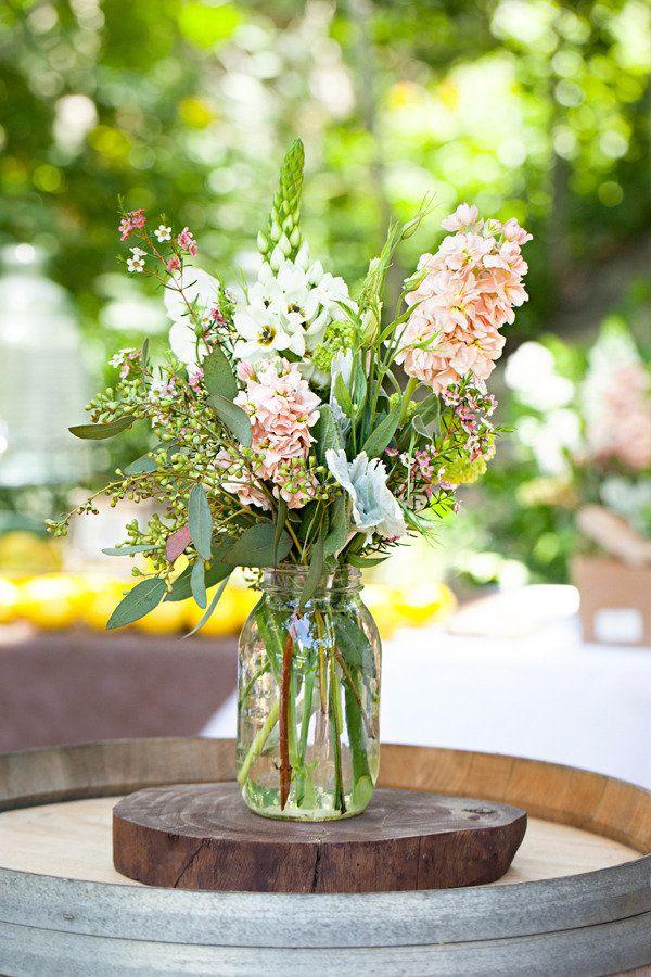 Love it!Floral Centerpieces, Canning Jars, Floral Design, Rustic Wedding Theme, Mason Jars Centerpieces, Flower Decor, Floral Arrangements, Flower Photography, Center Piece