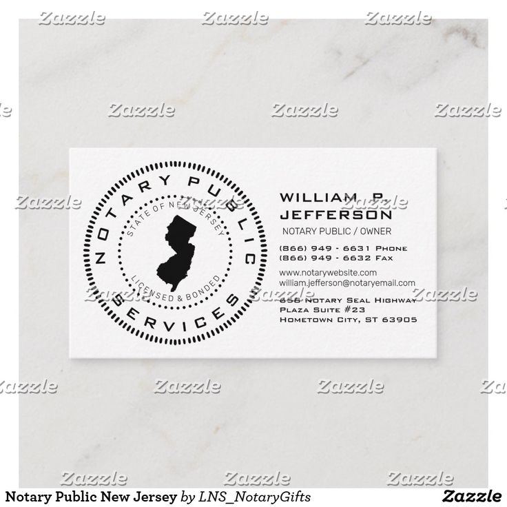 Notary Public New Jersey Business Card in