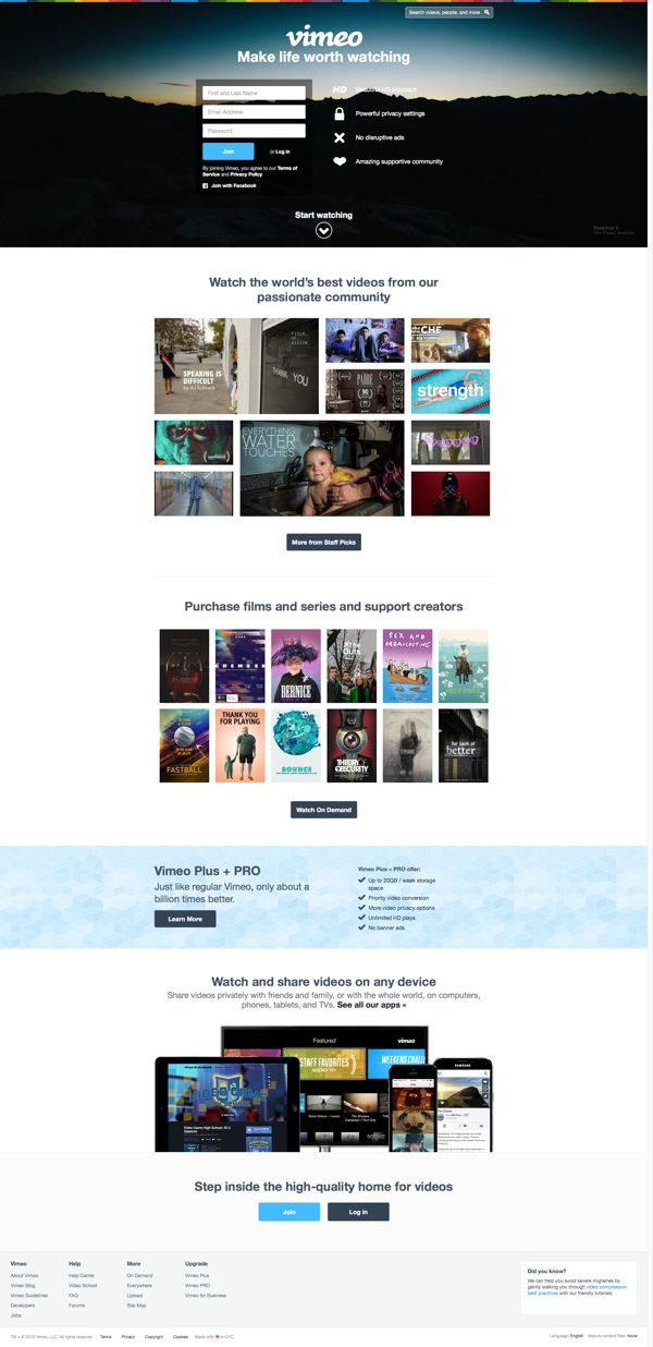 Vimeo - Make life worth watching | Landing Page Design Inspiration