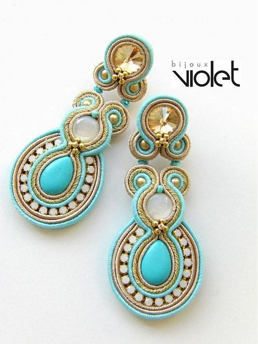 Soutache+earrings++Golden+Turquoise+by+Violetbijoux+on+Etsy