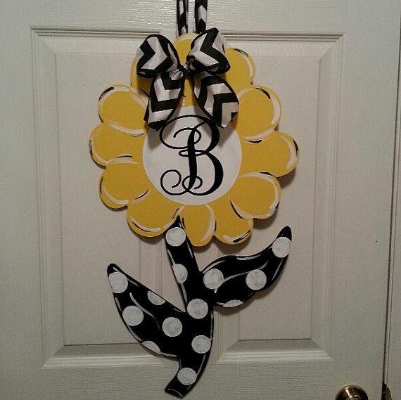 Monogrammed Flower for the front door, spring door hanger on Etsy, $45.00