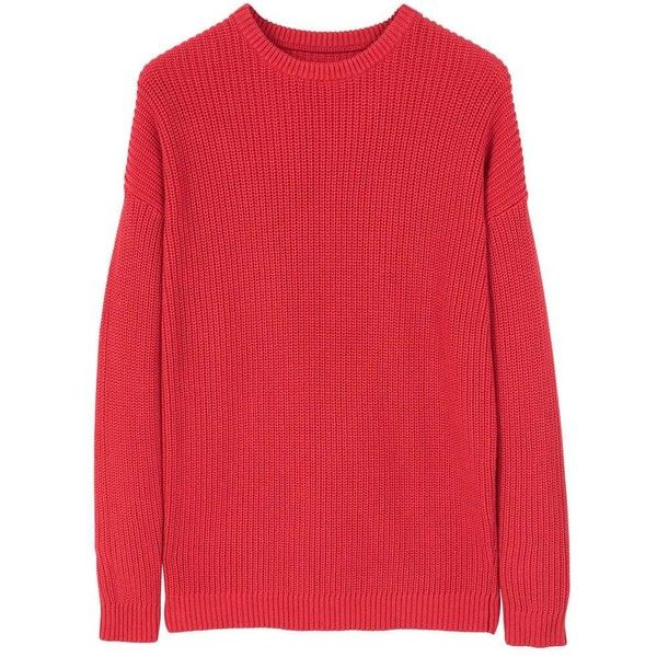 Knit Cotton Sweater ($21) ❤ liked on Polyvore featuring tops, sweaters, red, mens thick sweaters, mens oversized sweaters, mens long sleeve polo sweater, mens red sweater and mens cotton cable knit sweater