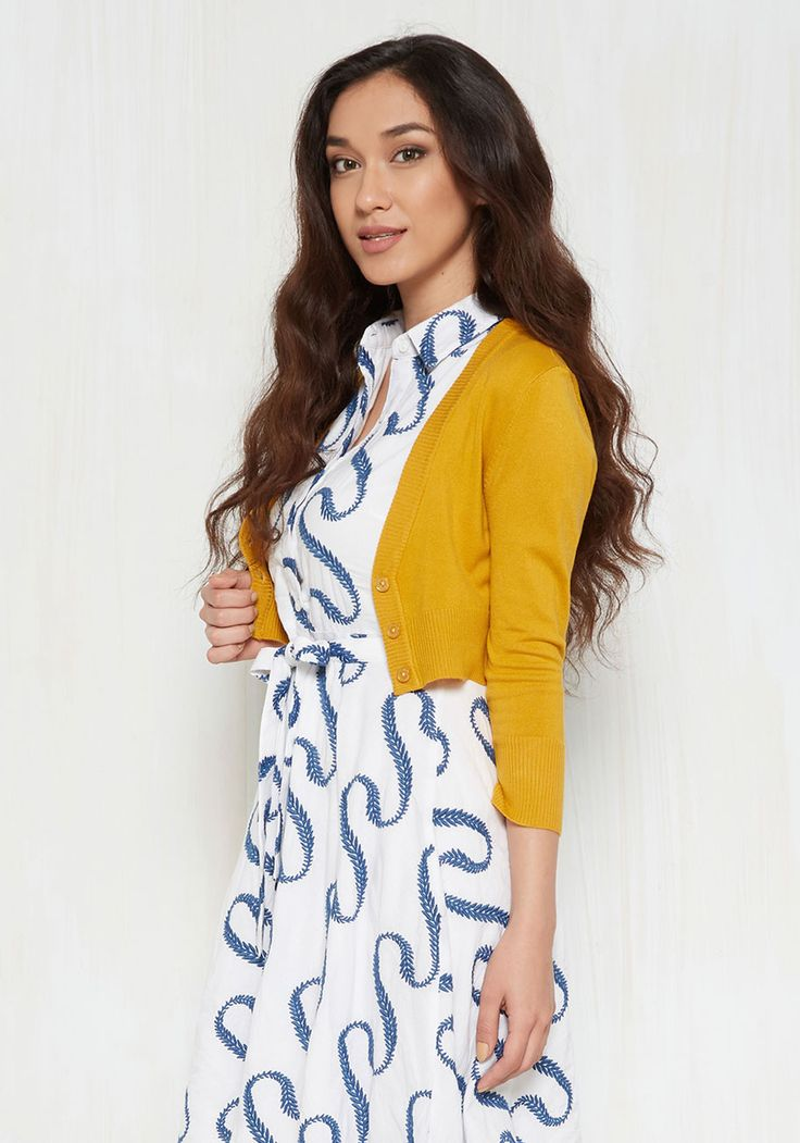 The Dream of the Crop Cardigan in Honey. Looking for a stylish goldenrod sweater to add a dollop of darling to your wardrobe? #yellow #modcloth
