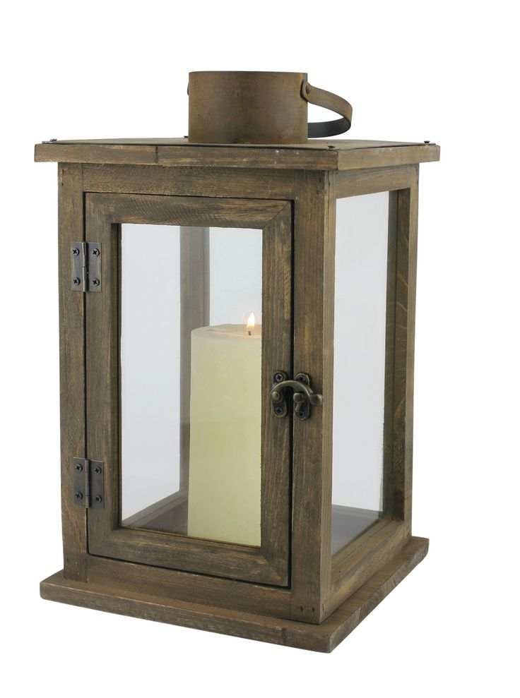 "Features:  -Rustic Retreat collection.  -Indoor or outdoor use.  -Size: Large.  Distressed: -Yes.  Holder Material: -Wood.  Style: -Rustic. Dimensions:  -Holds a 3"" diameter pillar candle.  Overall He"