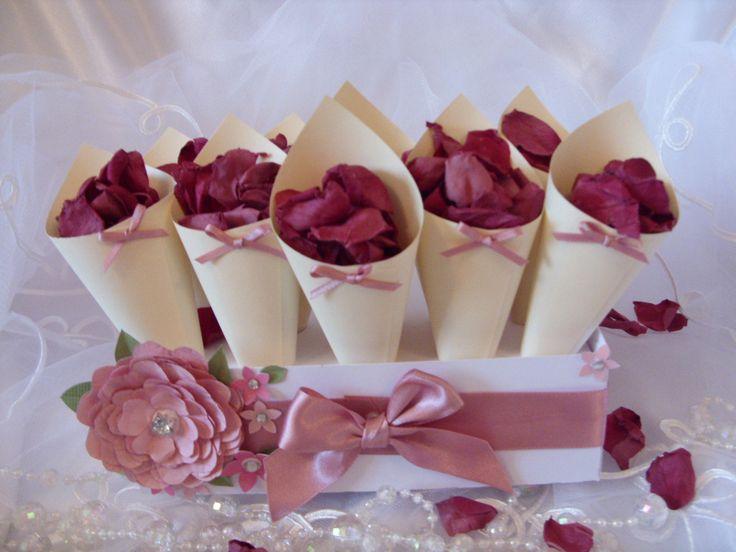Biodegradable Rose Petal Confetti Cones Dusky Pink Shabby Chic Vintage Bows Cream