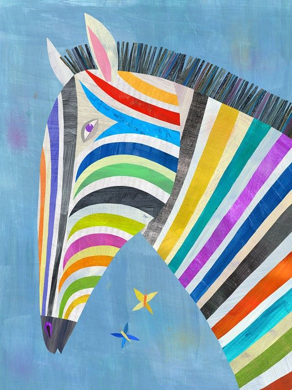Colorful Zebra canvas wall art from Oopsy Daisy, Fine Art for Kids. Size 10''x14'' for $59. Multiple sizes and additional framing options available.