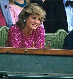 Update: July 05, 1985: Princess Diana with friend, Carolyn Pride watching Kevin Curlen v. Jimmy Connors on centre court in the Men's Singles, Wimbledon.