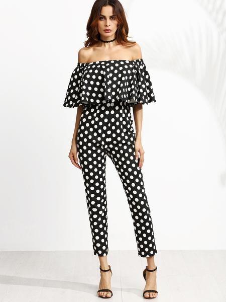 black and white polka dot jumpsuit, off the shoulder jumper, cute polka dot outfit - Lyfie