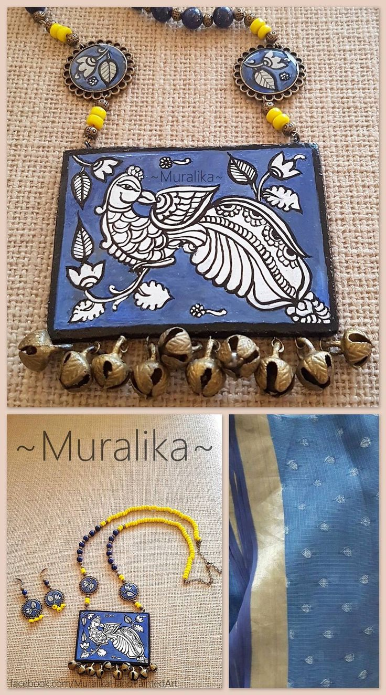 Handpainted necklace with  Kalamkari design on terracotta base -lapis and ceramic beads