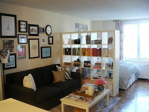 studio apt Future reference?? Make your studio feel cozier :) could add curtain to bedroom side of the book case for little extra privacy at night