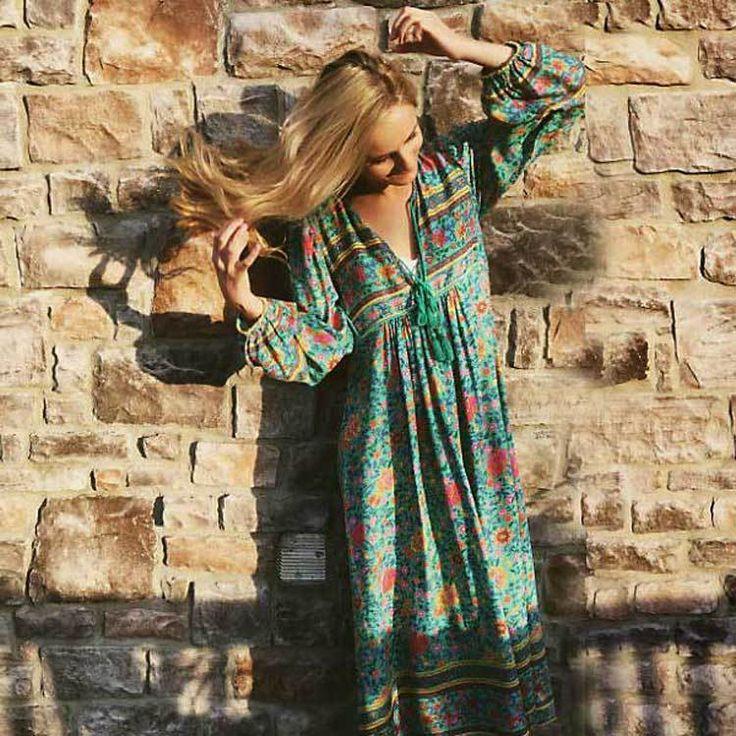 Boho Inspired Summer Bohemian Floral Long Sleeve Tassel V-Neck Loose Hippie Dress