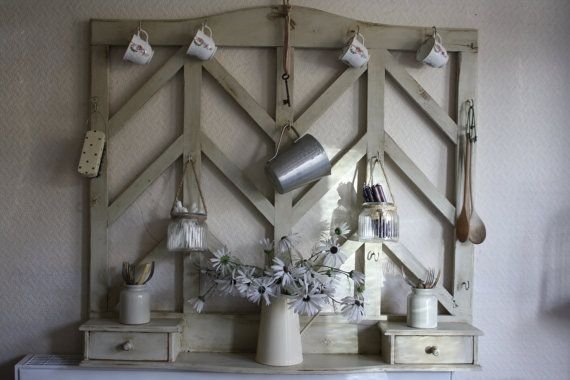 Large Vintage French Country Kitchen Shelf Rack by ArthurandEde