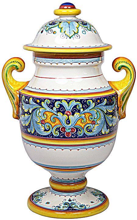 Italian ceramic centerpiece urn deruta ricco acanthus