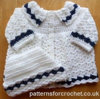 Free Matinee Coat & Hat Baby Crochet Pattern from http://www.patternsforcrochet.co.uk/baby-coat-hat-usa.html #freebabycrochetpatterns #patternsforcrochet