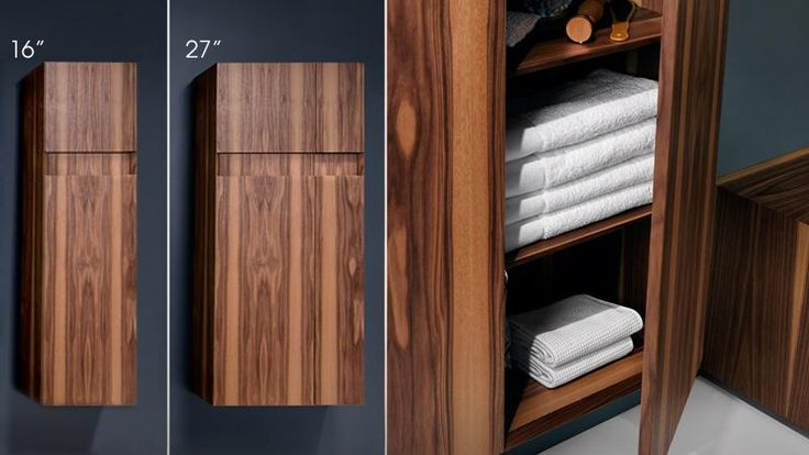 Crafted from renewable hardwoods, this premium quality cabinet features beveled edges, concealed European hinges and slow-closing drawers. (WETSTYLE M Collection: Linen Cabinet)