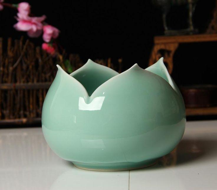 Porcellana Cinese, Accessori La Casa Vaso Disco Vaso Di Fiori In Ceramica Artigianato Vaso In Porcellana Fatti A Mano, Opere D'arte Celadon Decorazioni Confezione Regalo All'ingrosso