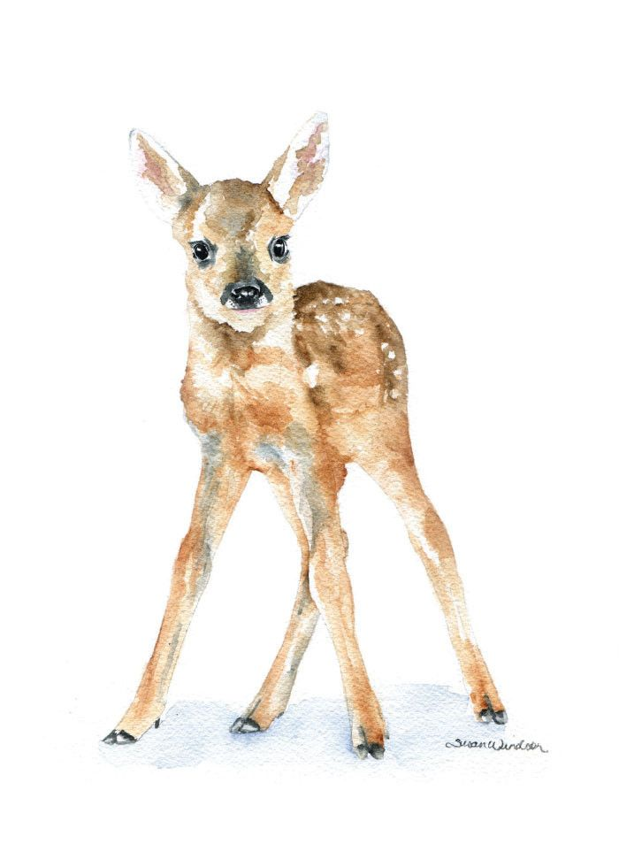Deer Fawn watercolor giclée reproduction. (Original has been sold.)Portrait/vertical orientation. Printed on fine art paper using archival pigment inks. This qu