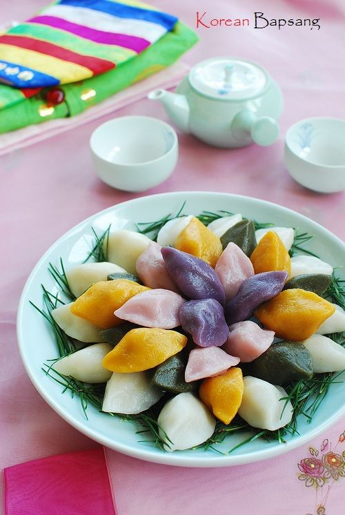 Songpyeon (Half-moon Shaped Rice Cake) | from Korean Bapsang.... no idea what it is exactly but sounds interesting