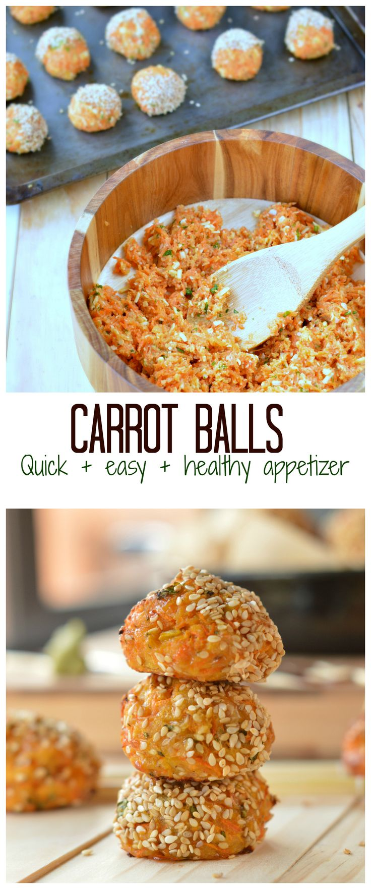 Those Carrot Sesame Balls are SOO easy to make & healthy ! A crispy sesame crust and cheesy centre. Only 15 minutes to bake and gluten free! An easy & healthy appetizer or party game food! #glutenfree #carrot #balls #appetizers #healthy
