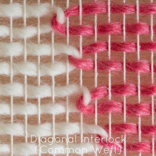 Telar y husillo - técnicas de tejido - Diagonal trama común Interlock