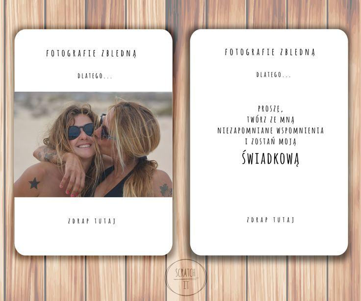 kartka zdrapka ze zdjęciem dla swiadkowej, kartka dla świadkowej, kartka dla przyjaciólki