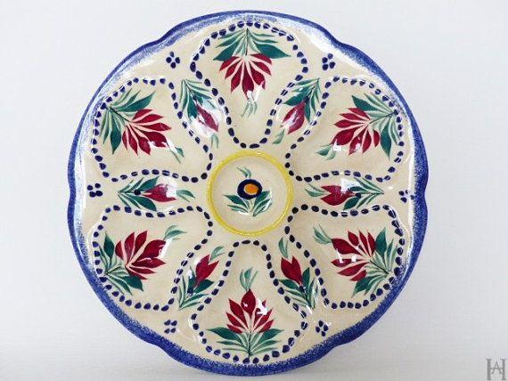 Assiettes à huîtres en céramique de Quimper par HistoiresAntiquites