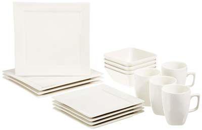 3. AmazonBasics White Dinnerware Sets