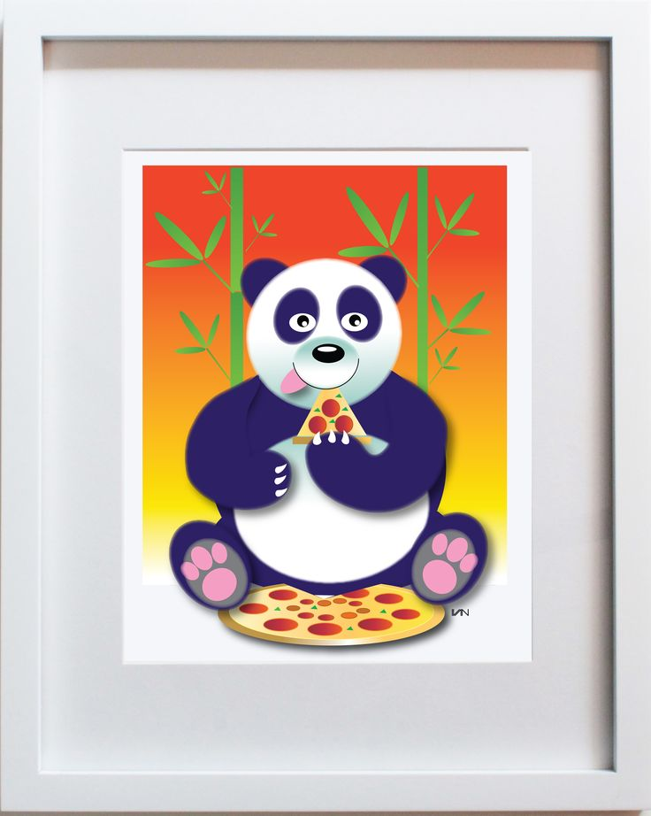 Pizza Eating Panda. Original nursery decor. Also available in a smaller 8x10in frame on our website.