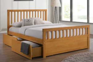 Wooden Double Bed Frame With Storage Drawers