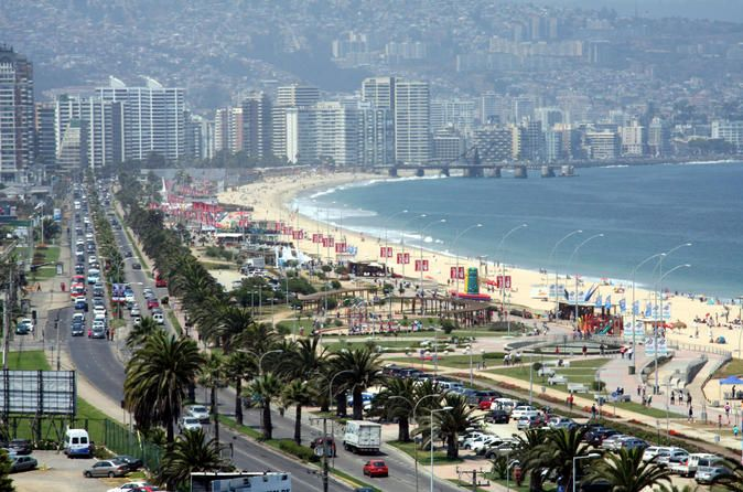 "Half-Day Chilean Pacific Coast Tour: Viña del Mar, Reñaca and Concón Join this 4 hour tour to the Pacific Coast and explore the cities of Viña del Mar, known as the ""Garden City"", the lively beaches of Reñaca and the more quiet Concón. The Pacific Coast is renowned for white-sand beaches that stretch north through the suburbs of Reñaca and Concón and for its big waves that makes it a popular destination among surfers. Recommended both during summer and winter this tour is the..."