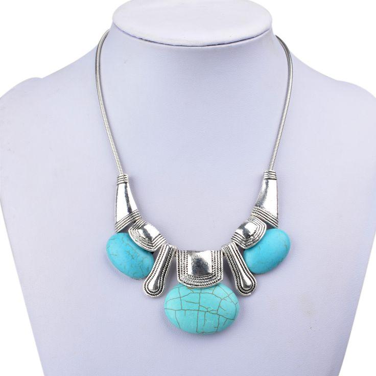 Mixed-VTG-Turquoise-Tibetan-Silver-Choker-Collar-Bib-Pendant-Necklace-L01Z219