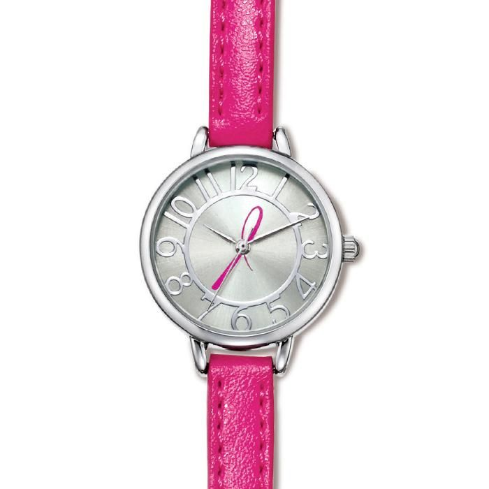 Breast Cancer Crusade Skinny Strap Watch. It's time to make a difference! Show your support with a silvertone faced watch with a pink, leatherlike strap featuring a pink ribbon on the face.