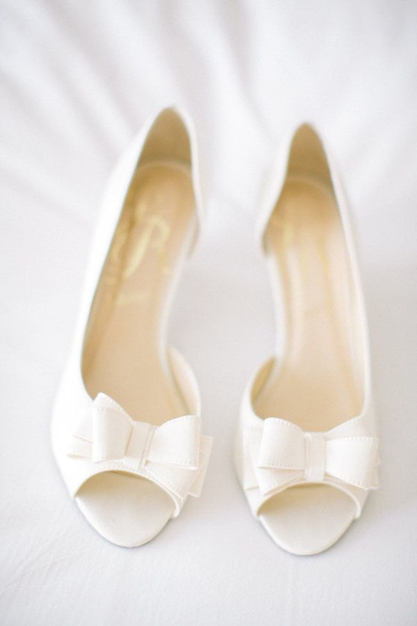 White Bow Wedding Shoes | photography by http://www.jacquicole.com