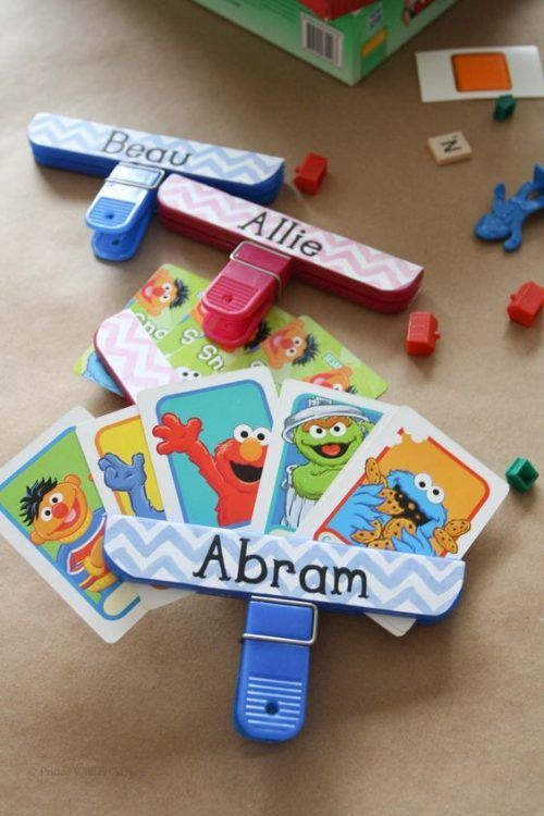 We love this Upcycled Chip Clip to hold cards, another Family Game Night hack for little hands! Memorable Family Game Night Ideas and Tricks on Frugal Coupon Living.