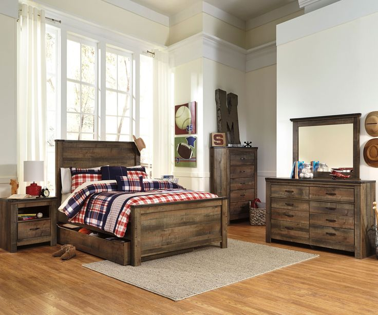 ★ Buy our Ashley Trinell B446 Full Size Panel Bed at Kids Furniture Warehouse. ★ The Trinell Panel Bed B446 features a durable design with an authentic reclaimed barn wood look.