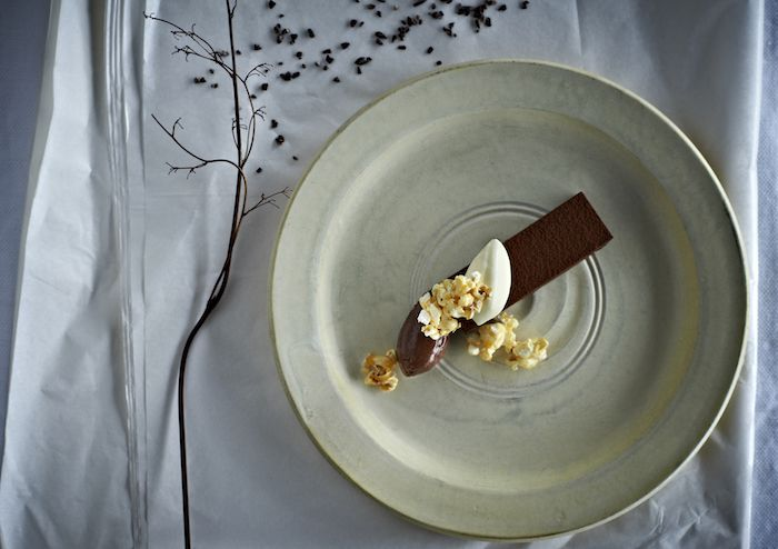 Dark Ghana Chocolate Slab with Dark Cacao Chocolate Mousse and Caramelised Popcorn - Whittaker's