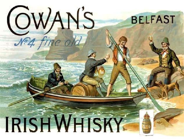 COWAN'S BELFAST IRISH WHISKEY WHISKY OLD VINTAGE STYL PUB BAR POOL SIGN IRELAND