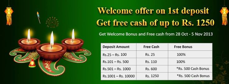Diwali #Delight Awaits First #Time #Cash #Players!!!  If you are making your First Purchase this #Diwali, there is a very special offer awaiting you!  Minimum cash deposits start from Rs.25 onwards You get very generous #FREE CASH on your deposit You get 100% #Welcome Bonus*  Hurry! This special #offer is valid for the #festive #season from 28 Oct to 5 Nov'13 only!  https://www.classicrummy.com/diwali-rummy-tournaments?link_name=CR-12