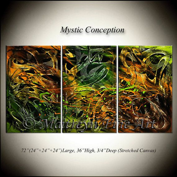 ABSTRACT painting large abstract ARTWORK Lime by largeartwork, $850.00