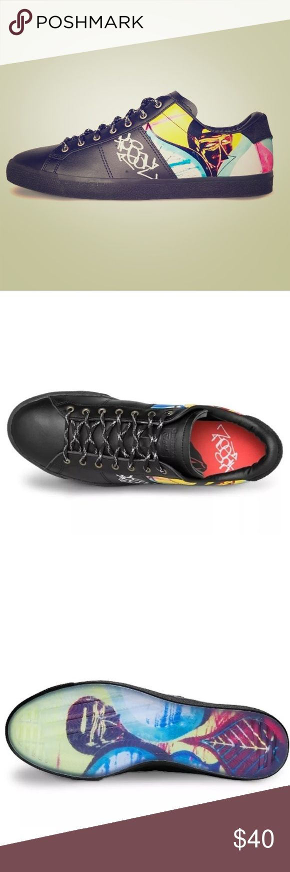 ONITSUKA TIGER Lawnship unisex EU 39 Brand: Asics Style:  Lawnship Model: D6P1L-9090 Color: Black, graffiti art  Store display shoes 100% Brand New and Authentic EU 39 Mens 6 Onitsuka Tiger by Asics Shoes Sneakers