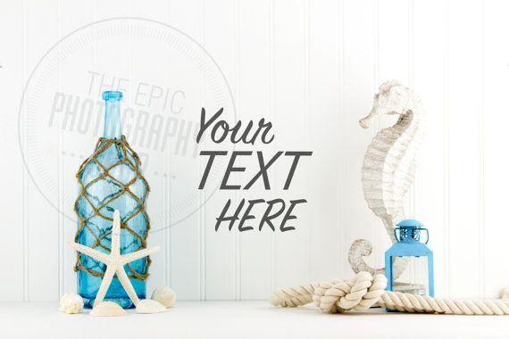 Styled Stock Photography / Beach, Shells, Ocean, Blue, Star Fish, Rope, Lantern, Nautical / header hero image / product background / BN006