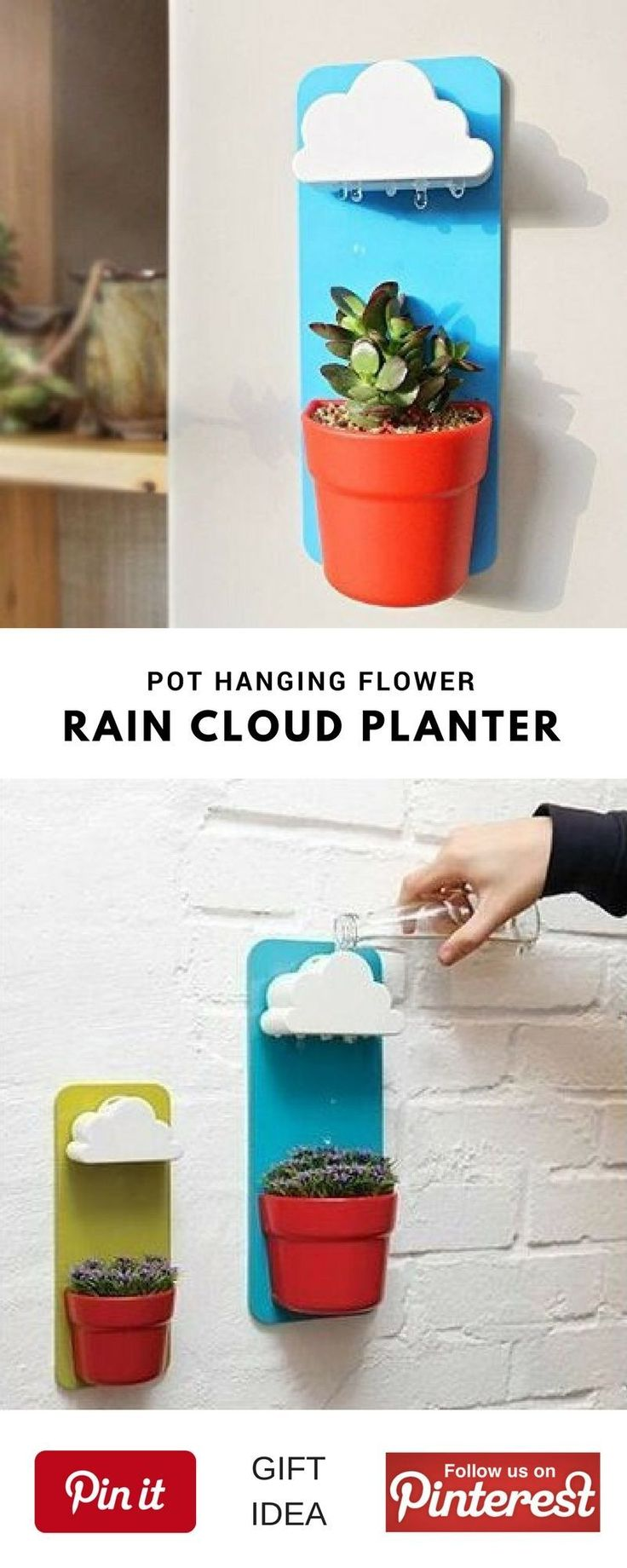 Cloud-Shaped Indoor Wall Mount Rainy Pot Hanging flower Pot With One Pair. This could be a great best gift for mother's day, birthday for women, girls and little kids, christmas, girlfriend, friends, couples, valentine's, bridesmaid, graduation, weeding, engagement and retirement. It's an inexpensive great meaning present and personalized for any funny guys anniversary.  #cheap #unique #weird #DIY #unusual #homemande #online #coolideas #shop #her #girlfriendbirthday #bridemaidsgiftsdiycheap