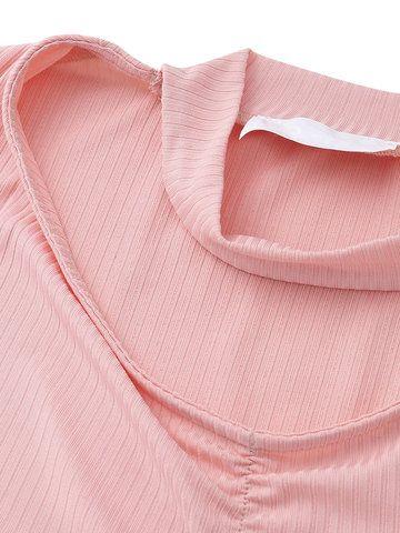 Camiseta sexy con gargantilla con cuello en V de mangas largas de color puro para mujeres
