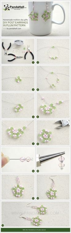 Jewelry Making Tutorial--How to DIY Post Earrings in Plum Pattern | PandaHall Beads Jewelry Blog