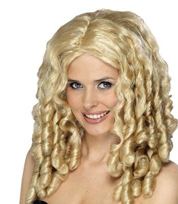 Damespruik met blonde pijpenkrullen