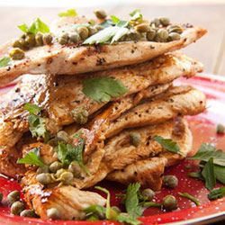 Lemony chicken escalopes with capers.