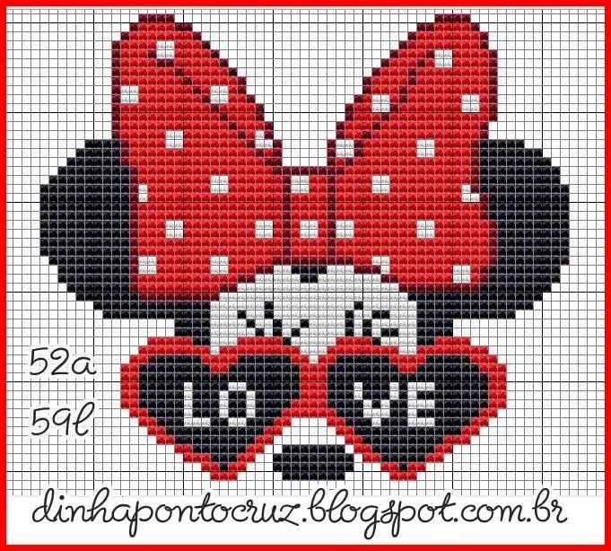 Dinha Ponto Cruz: Mickey e Minnie Ponto Cruz