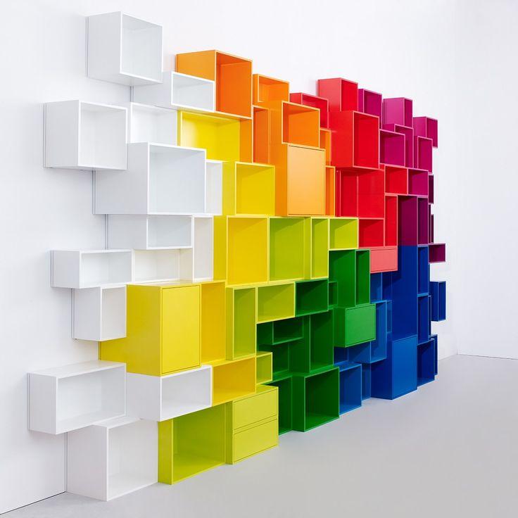Modular rainbow shelves / CUBIT BY MYMITO